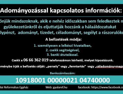 Adományozással kapcsolatos információk