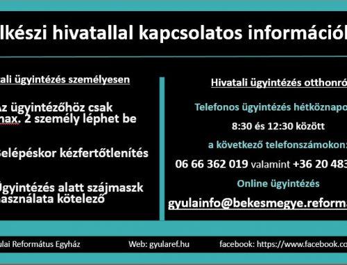 Lelkészi hivatallal kapcsolatos információk